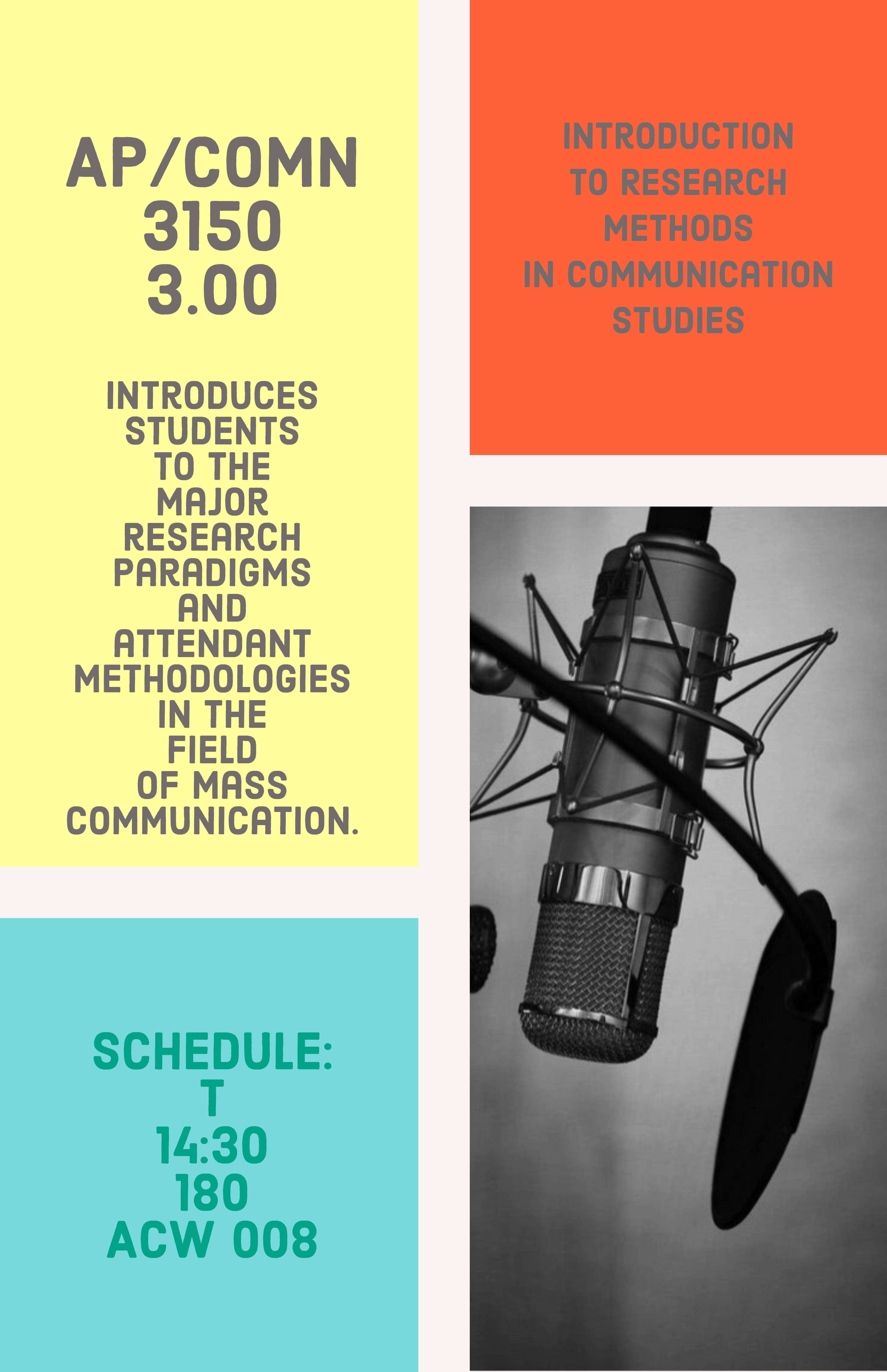 AP/COMN 3150 3.0 A: Introductory Communication Methodologies Session: Fall 2019Term: FFormat: SEMR