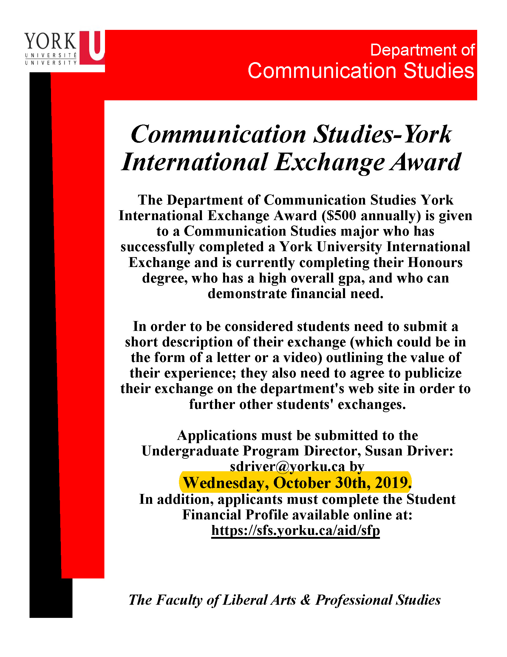 COMN - York International Exchange Award