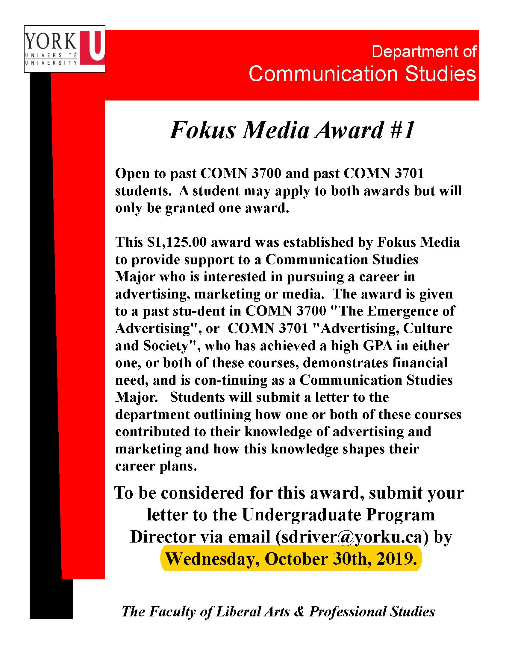 Flyer - Fokus Media Award #1