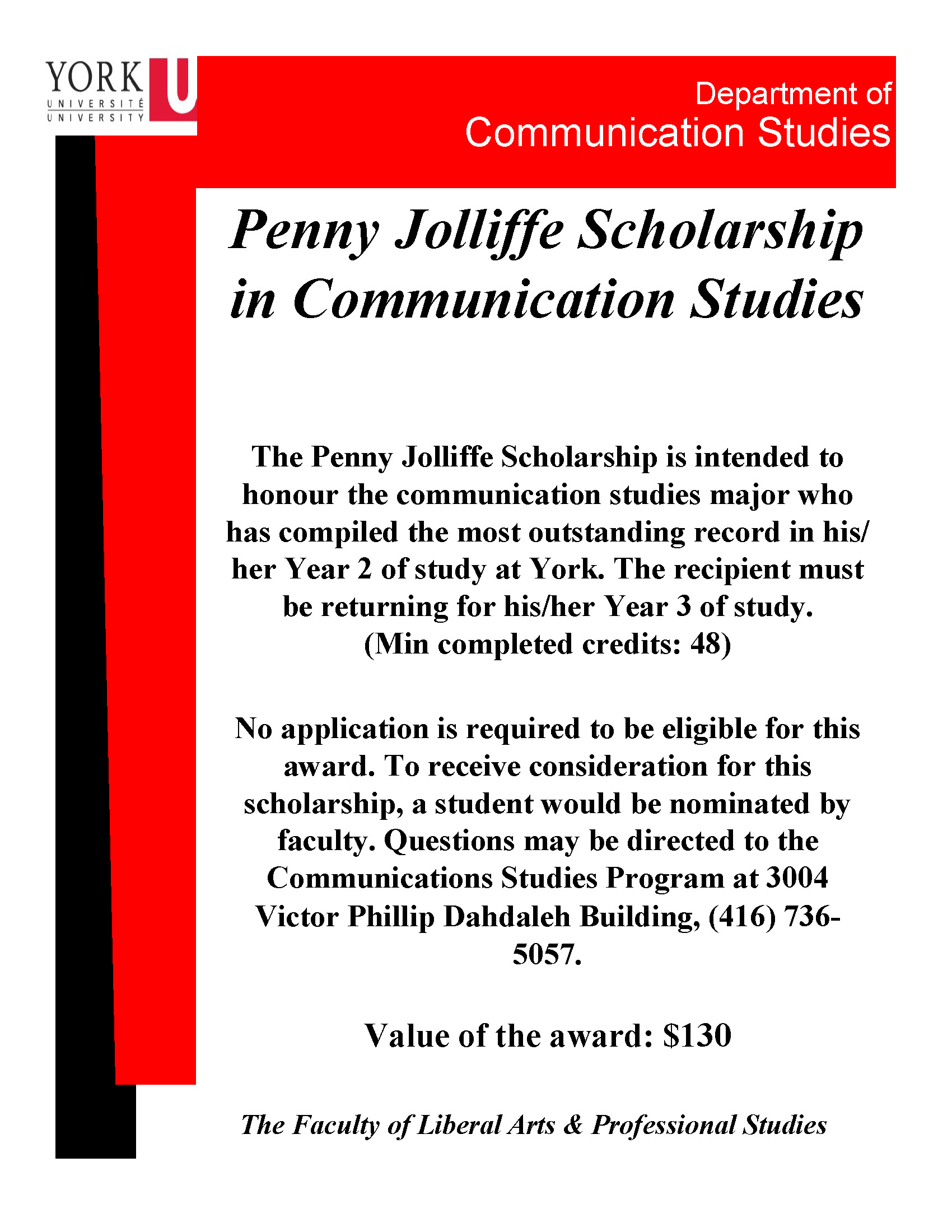 Penny Jolliffe Scholarship in Communication Studies