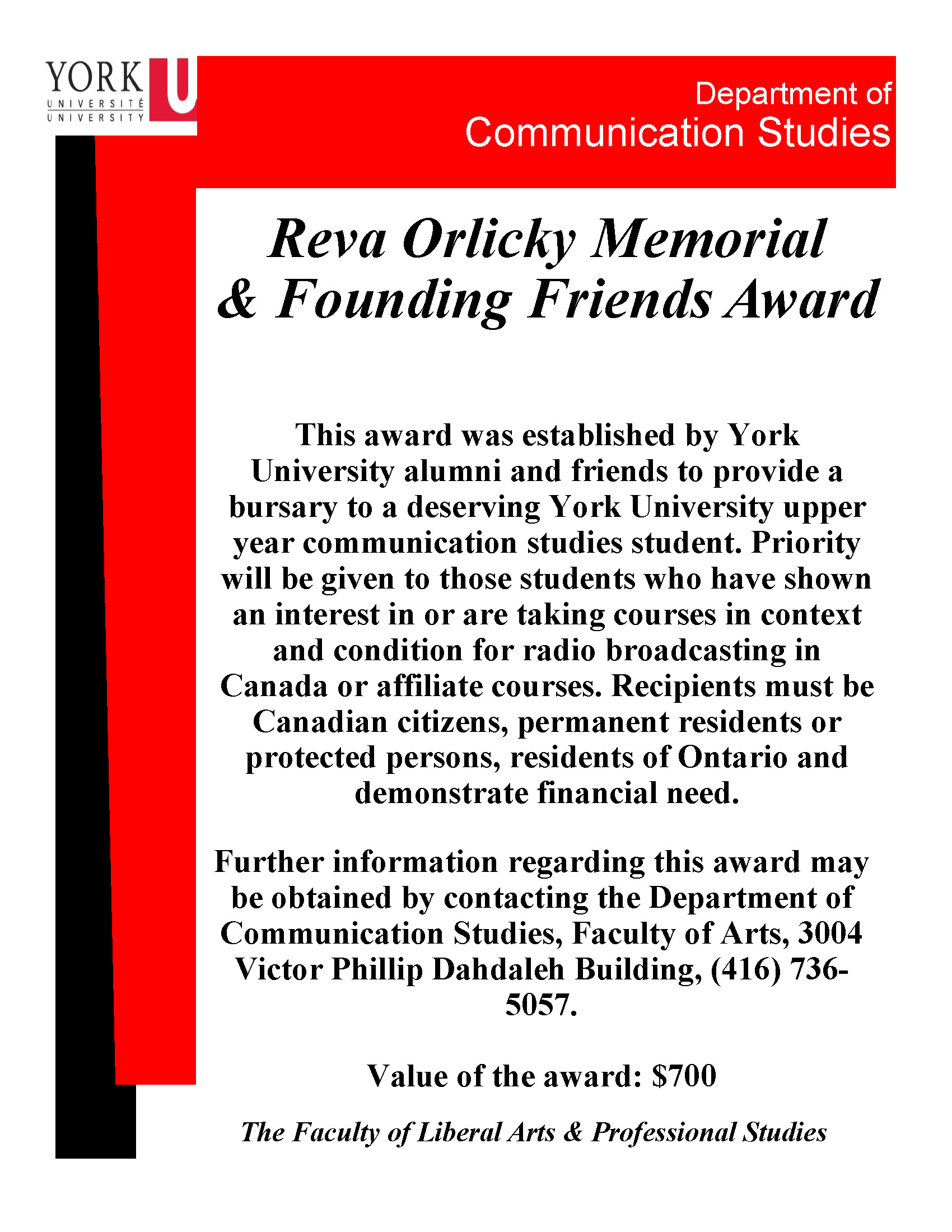 Reva Orlicky & Founding Friends Award