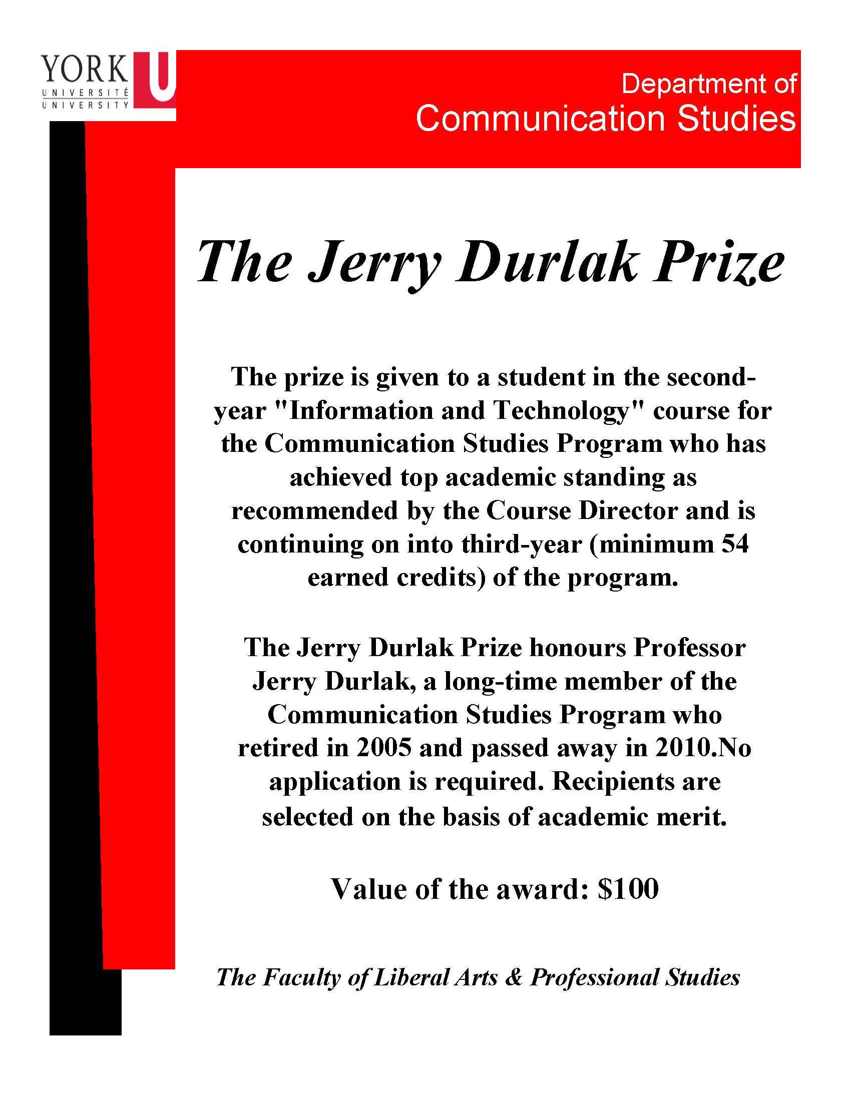 The Jerry Durlak Prize