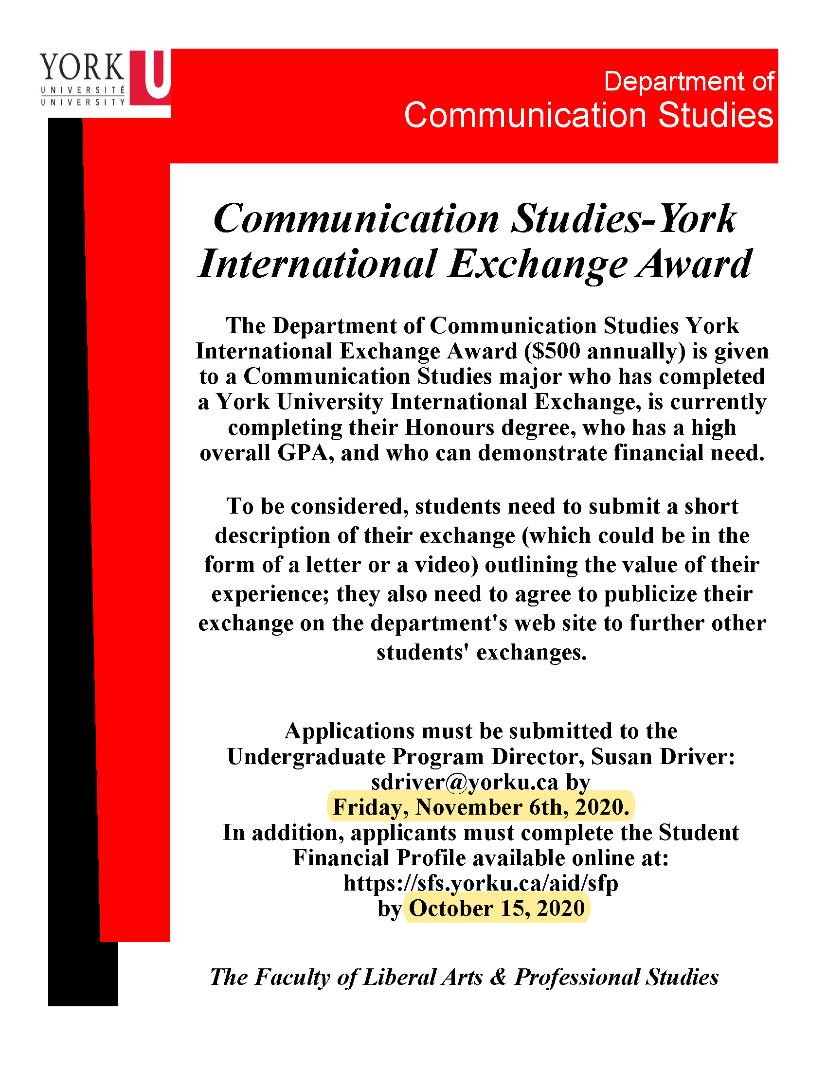 Communication Studies York International Exchange Award