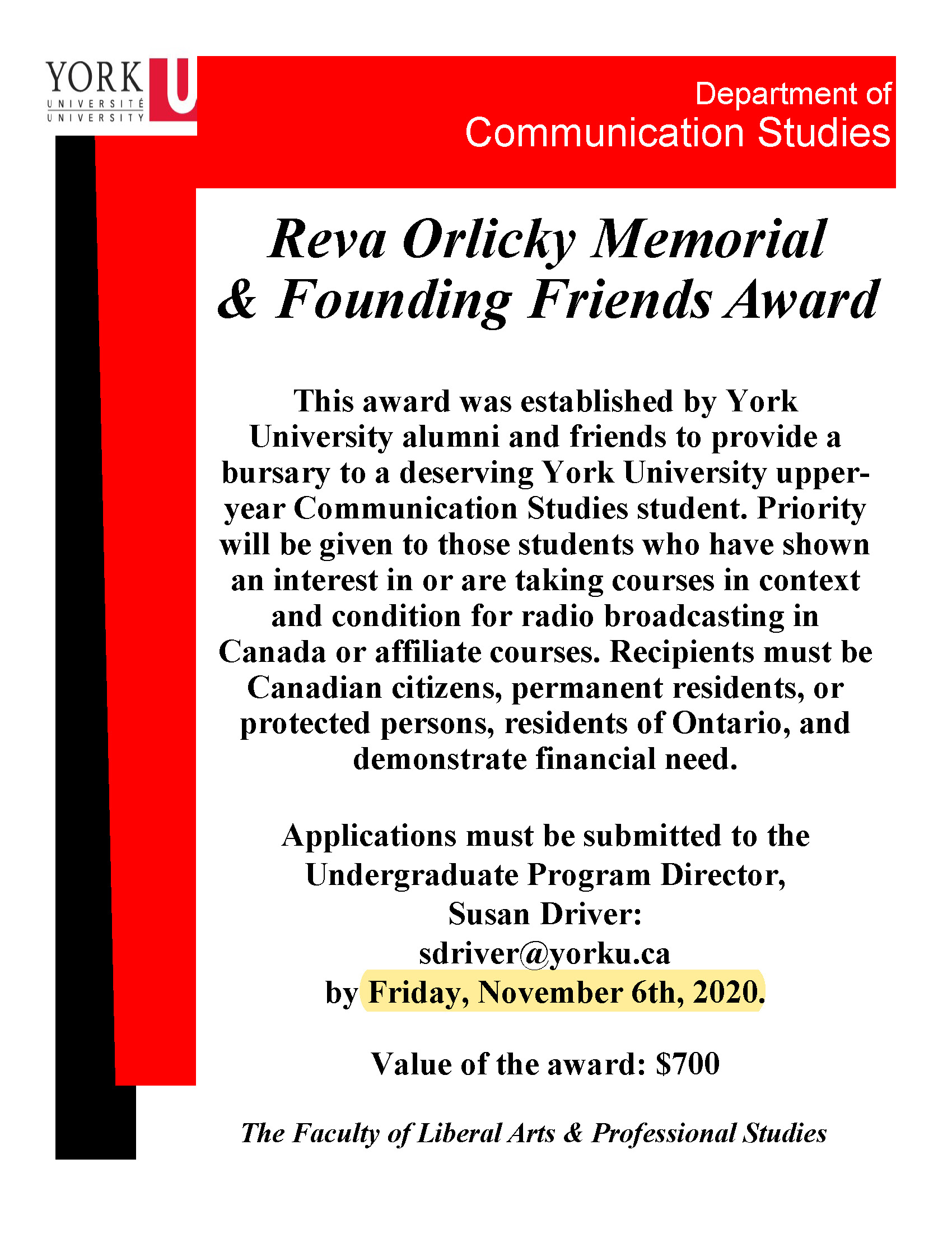 Reva Orlicky Memorial & Founding Friends Award