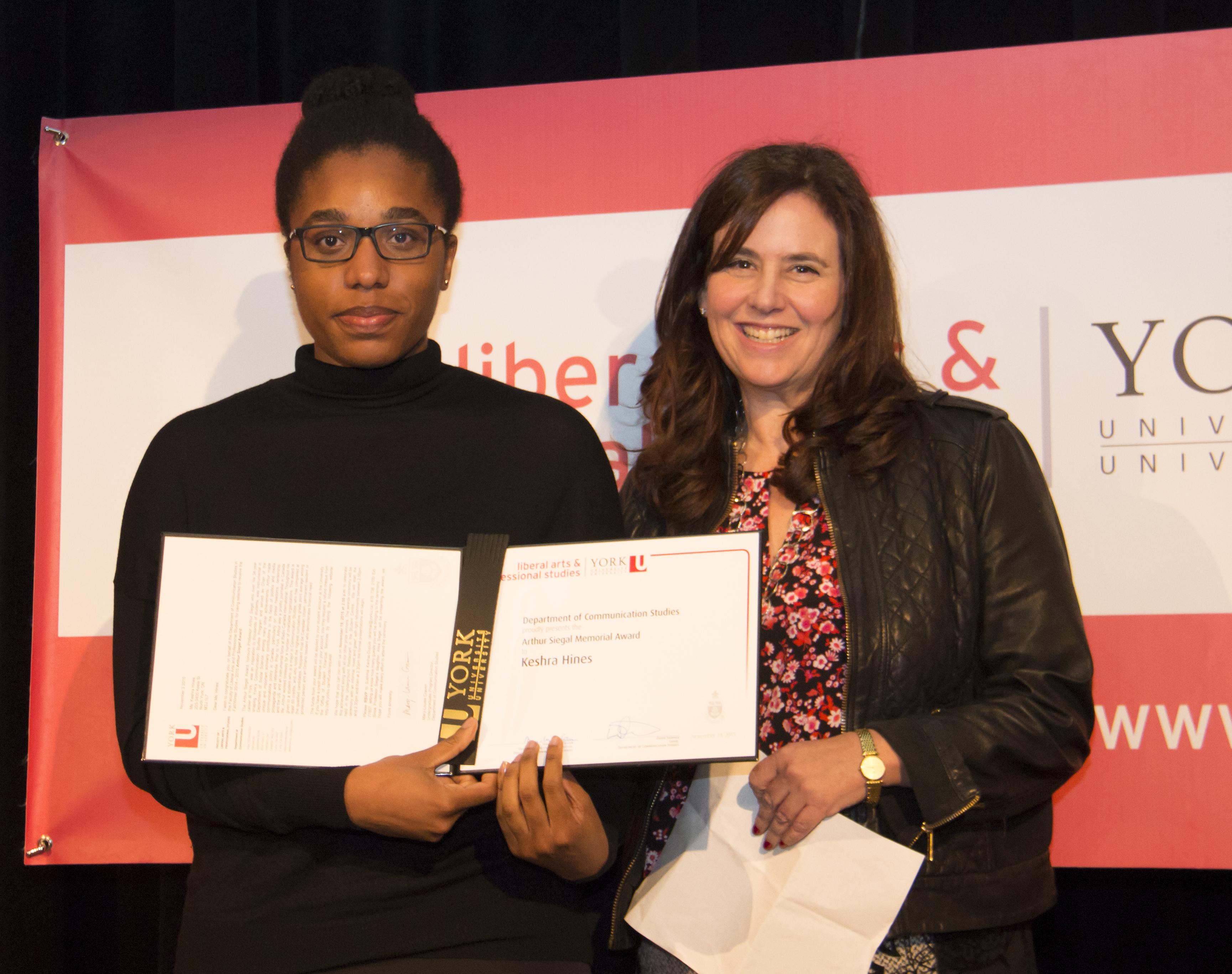 Arthur Seigel Memorial Award Alisa Siegle and Keshra Hines